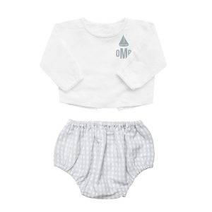 Louelle Personalized Bloomer and Blouse Summer Set - Grey Gingham