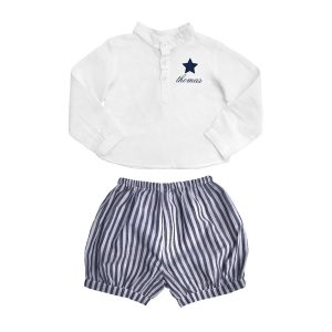 Louelle Personalized Bloomer and Blouse Summer Set - Harbor Island Stripe