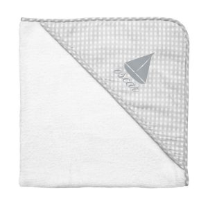 Louelle Personalized Hooded Towel and Wash Glove - Grey Gingham