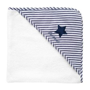 Louelle Personalized Hooded Towel and Wash Glove - Harbor Island Stripe