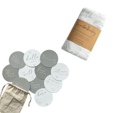 Bundled Baby Milestone Card + Swaddle - Outer Space