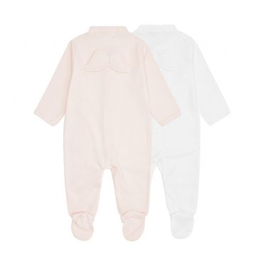 Marie-Chantal Baby Set of 2 Angel Wing Pointelle Sleepsuits - Pink