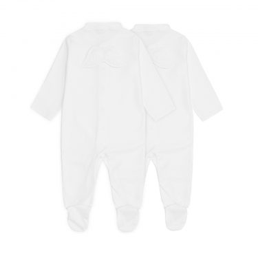 Marie-Chantal Baby Set of 2 Angel Wing Pointelle Sleepsuits - White