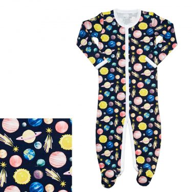 HART + LAND Baby/Toddler Organic Pima Cotton Footed Bodysuit PJ- To The Moon and Back