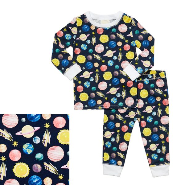 Gabrielle Cooks Toddler Organic Pima Cotton Footed Bodysuit PJ- To The Moon and Back1