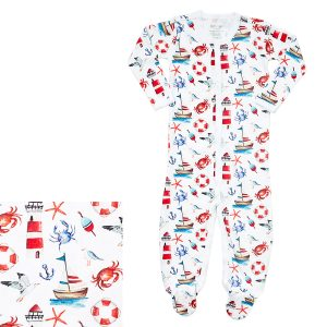 HART + LAND Baby/Toddler Organic Pima Cotton Footed Bodysuit PJ- Out To Sea