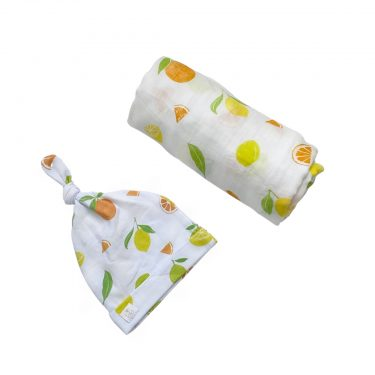 Bundled Baby Bamboo Muslin Swaddle Blanket & Topknot Set - Main Squeeze