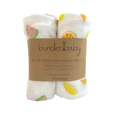 Bundled Baby Bamboo Muslin Swaddle Blanket 2 Pack - Sweet & Sour