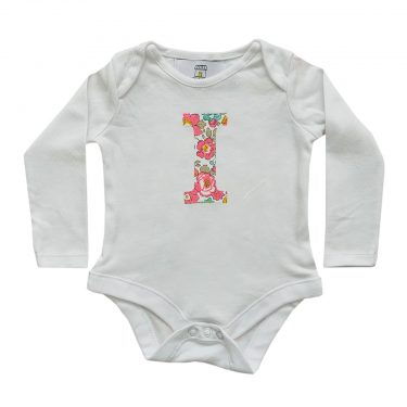 My Little Shop UK Baby Liberty of London Personalized Initial Long Sleeve Bodysuit