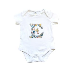 My Little Shop UK Baby Liberty of London Personalized Initial Short Sleeve Bodysuit