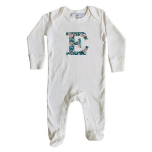 My Little Shop UK Baby Liberty of London Personalized Initial Sleepsuit