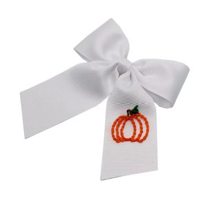 Winn and William Personalized Pumpkin Embroidered Bow