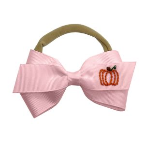 Winn and William Pumpkin Embroidered Baby Bow