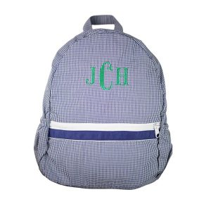 The Bella Bean Shop Personalized Backpack - Navy Gingham