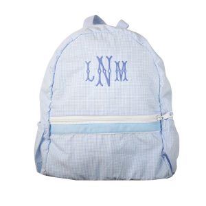 The Bella Bean Shop Personalized Backpack - Light Blue Gingham