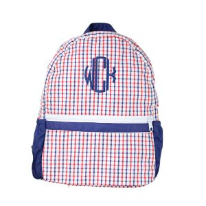 The Bella Bean Shop Personalized Backpack - Red & Navy Windowpane