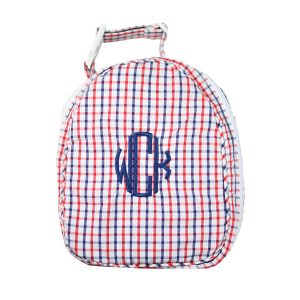 The Bella Bean Shop Personalized Lunch Box - Red & Navy Windowpane