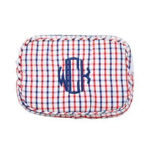 The Bella Bean Shop Personalized Zip Pouch - Red & Navy Windowpane
