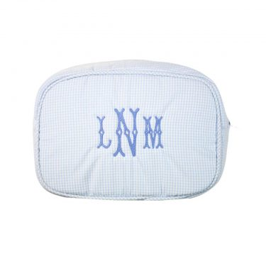 The Bella Bean Shop Personalized Zip Pouch - Light Blue Gingham
