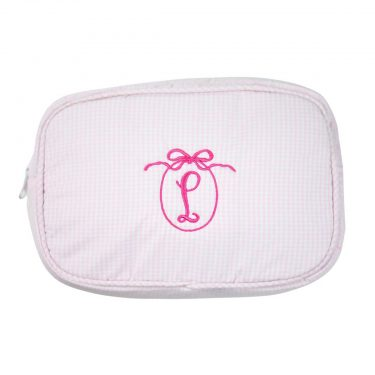 The Bella Bean Shop Personalized Zip Pouch - Pink Gingham