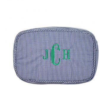 The Bella Bean Shop Personalized Zip Pouch - Navy Gingham