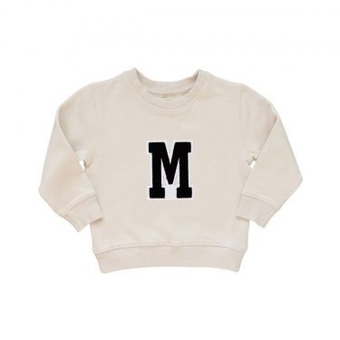HART + LAND Baby/Toddler/Big Kid Organic Solid Personalized Sweatshirt- B/W Patches