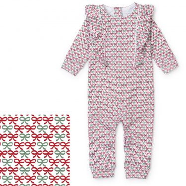 Lila + Hayes Baby Evelyn Romper - Christmas Bows