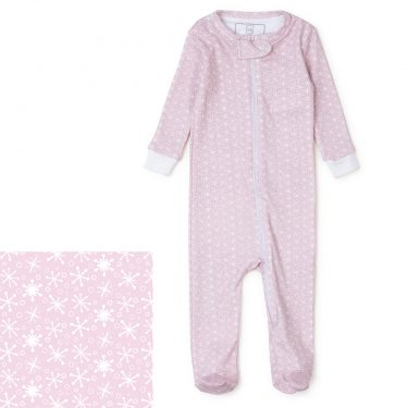 Lila + Hayes Baby/Toddler Parker Zipper Pajama - Snowflakes In Pink
