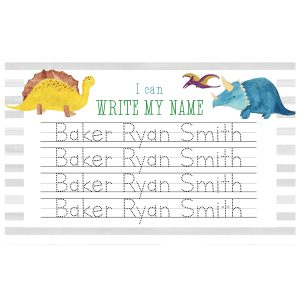 paper n peonies Personalized Name Placemat - Dinosaur