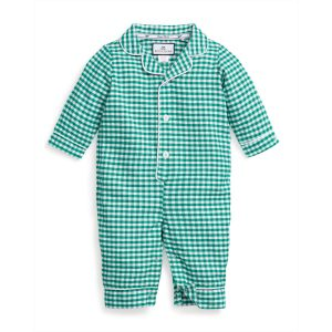 Petite Plume Baby Green Gingham Flannel Romper