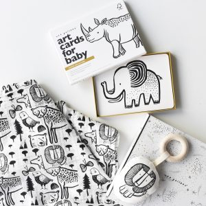 Wee Gallery Gift Set - Lion Teether, Safari Art Cards and Wild Swaddle