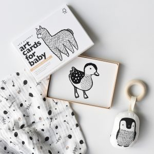 Wee Gallery Gift Set - Penguin Teether, Baby Animals Art Cards and Seedling Swaddle