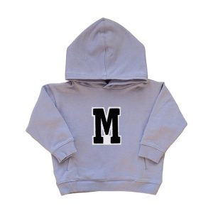 HART + LAND Baby/Toddler/Big Kid Organic Solid Personalized Hoodie - B/W Patches