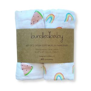 Bundled Baby Bamboo Muslin Swaddle Blanket 2 Pack - Over the Rainbow & Watermelon