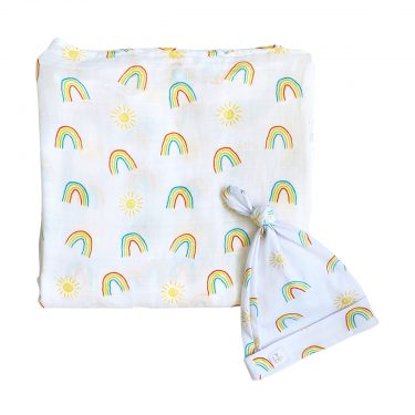 Bundled Baby Bamboo Muslin Swaddle Blanket & Topknot Set - Over the Rainbow