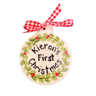 Caroline & Co Hand Painted Baby's First Christmas Wreath Ornament - Flat